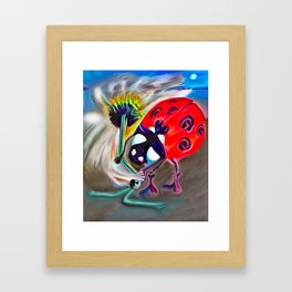 Ladybug&flower Framed Art Print
