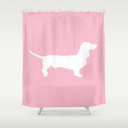 Pink Dachshund Silhouette Pattern Shower Curtain