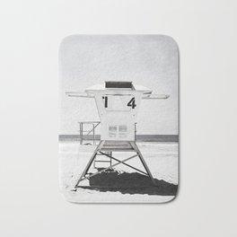 Black and White Beach Photography, Grey Lifeguard Stand, Gray Coastal Nautical Art Bath Mat