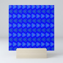 Pattern of intersecting hearts and stripes on a blue background. Mini Art Print