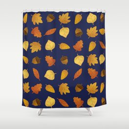 Leaf Lovers in Navy Shower Curtain