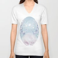 antlers V-neck T-shirts featuring Antlers by Pastellish