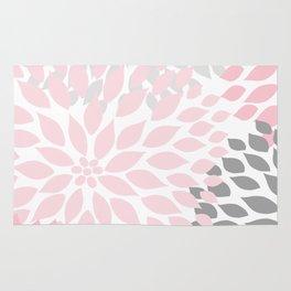 Pink Gray Dahlia Floral Rug