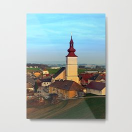 Village and church in warm sundown light | landscape photography Metal Print