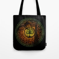 gondor Tote Bags featuring Tree of Gondor Stained Glass by Mazuki Arts