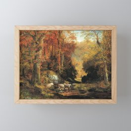 Cresheim Glen Wissahickon Autumn 1864 1 By Thomas Moran | Daytime Hike Watercolor Reproduction Framed Mini Art Print