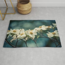 Spring Botanical -- White Dogwood Branch in Flower Rug