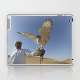 Falconer With Hooded Falcon In The Desert Laptop & iPad Skin