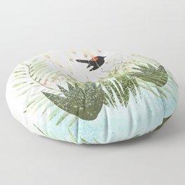 Red Winged Black Bird & Botanicals Floor Pillow