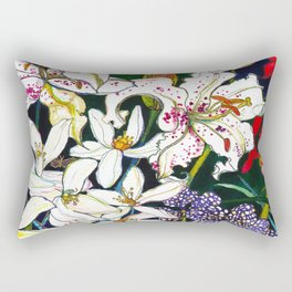 Lilies & Orchids Rectangular Pillow