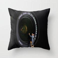 Keeping the Lenses Clean Throw Pillow
