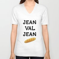 cassandra jean V-neck T-shirts featuring jean val jean by Bread Sports