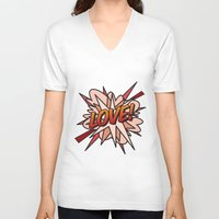 comic book V-neck T-shirts featuring Comic Book LOVE! by The Image Zone