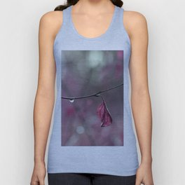 Raspberry Pink Leaf and Raindrops Unisex Tank Top