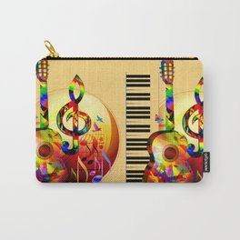 Colorful  music instruments painting, guitar, treble clef, piano, musical notes, flying birds Carry-All Pouch