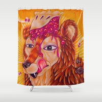pie Shower Curtains featuring Bear Pie by Art By Emmy Kay