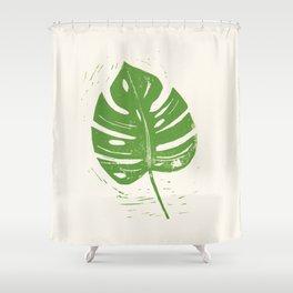 Linocut Leaf Shower Curtain