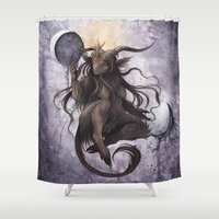baphomet Shower Curtains featuring Baphomet by Savannah Horrocks