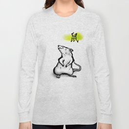 Chinese Ink Rat Long Sleeve T-shirt