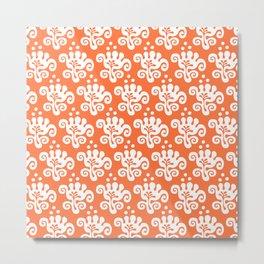 Pretty Mid Century Modern Floral Pattern 222 Orange Metal Print