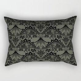 Stegosaurus Lace - Black / Grey Rectangular Pillow