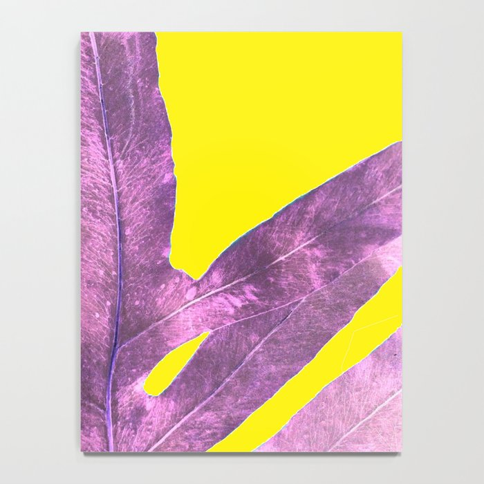 Green Fern on Bright Yellow Inverted Notebook