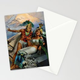 Caballero Aztec Warrior and Queen Mexican Yucatan romantic portrait painting Stationery Cards