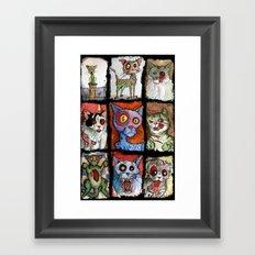 9 zombie cats Framed Art Print