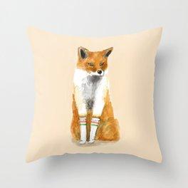 Fox with Socks Throw Pillow