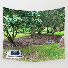 Headstones In A Public Garden Wall Tapestry