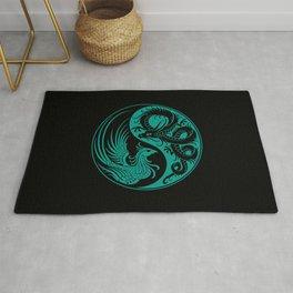 Teal Blue and Black Dragon Phoenix Yin Yang Rug
