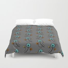 Mid Century Modern Dandelions on Gray Duvet Cover