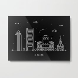 Boston Minimal Skyline Drawing Metal Print