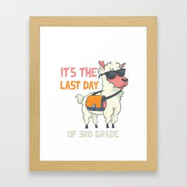 No Prob-llama It's the last day of 3rd grade Funny Llama design Framed Art Print