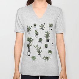 Plant Wall Succulent Pattern Unisex V-Neck