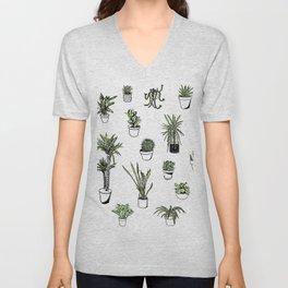 Plant Wall Succulent Pattern Unisex V-Neck