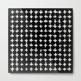 Minimalist Brush Stroke Plus Sign White Metal Print