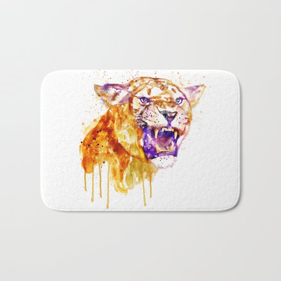 Angry Lioness Bath Mat
