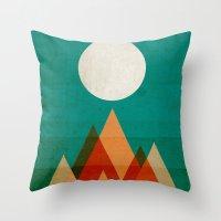 Throw Pillows featuring Full moon over Sahara desert by Picomodi