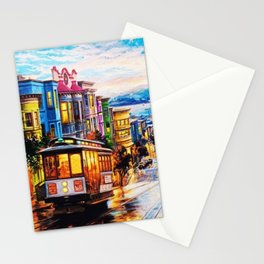 Russian Hill, San Francisco with view of Bay Stationery Cards