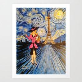 A Starry Night in Paris  Art Print