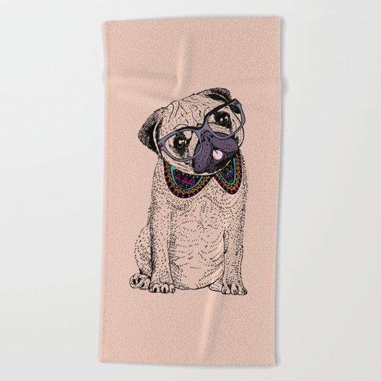 Hipster Pug Beach Towel