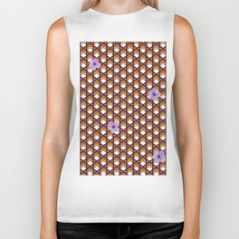 Brown Wicker With Purple Flowers Biker Tank