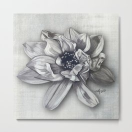 Magnolia Stained Art Metal Print
