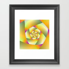 Yellow Pink and Green Spiral Framed Art Print