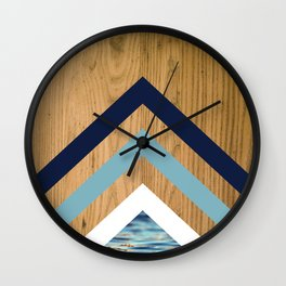 Wood Water Waves Geometric Hipster Triangels Wall Clock