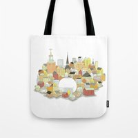 stockholm Tote Bags featuring Stockholm by eoillustrations