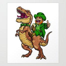 Leprechaun Rides T-Rex | Happy St. Patrick's Day Art Print