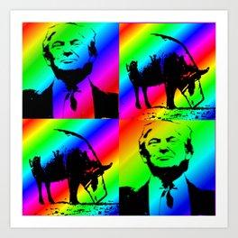 Trump with Pig Rainbow Stripe Art Print