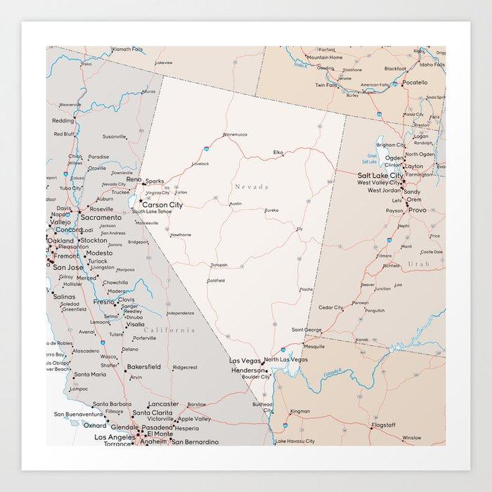 Map of Nevada Art Print by blursbyaishop
